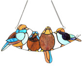 """8"""" H Stained Glass Song Bird Window Panel"""