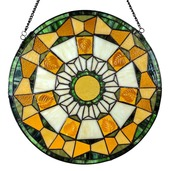 """18"""" H Stained Glass Golden Leaves Window Panel"""