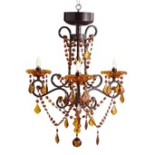 "26.5"" H Amber 3 Arm Wireless Chandelier with Remote Control"