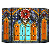 "27.5""H Roman Style Stained Glass Cathedral Fireplace Screen"