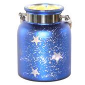 "8.6""H Large Mercury Glass Star Jar with Lights - Blue"
