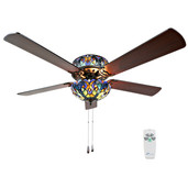 Tiffany Style Stained Glass Halston Ceiling Fan - Blue