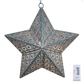 "17.7""H Stamped Metal Indoor/Outdoor Cordless LED Star Lantern - Turquoise Patina"