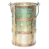 """8""""H Caged Mercury Glass Jar with Lights - Frosted Green/White"""
