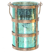 """8""""H Caged Mercury Glass Jar with Lights - Shiny Teal"""