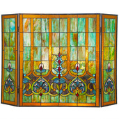 "26""H Tiffany-Style Stained Glass Webbed Heart Fireplace Screen"