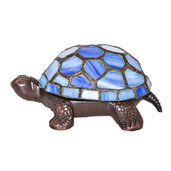 """2.5"""" Stained Glass LED Wireless Turtle Accent Lamp - Blue"""