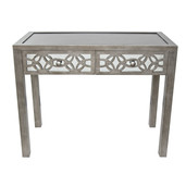 "30.25""H Glam Slam Mirrored 2-Drawer Console Table - Silver"