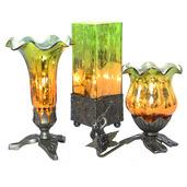 "Set of 3 - 8.5""H Rectangular Studio Art Glass, 8.25""H Lily, & 6.25""H Trumpeting Cherub Tulip Lily Uplight Accent Lamps - Green/Amber"
