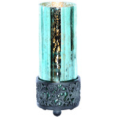 "8.8""H Studio Art Mercury Glass Round Uplight Accent Lamp - Teal"