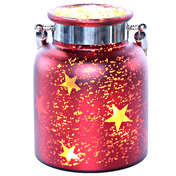 "8.6""H Large Mercury Glass Star Jar with Lights - Red"