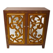 """34"""" H Mirror Glam 2 Door Cabinet-Gold and Brown"""