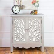 "28""H Willow Tree Two Door  Grey Cabinet with Shelf"