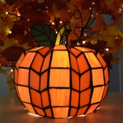 """9"""" H Patch the Pumpkin Stained Glass Accent Lamp"""