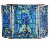 "28"" H Tiffany Style Stained Glass Swirling Shells Fireplace Screen"