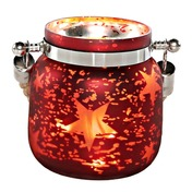 "4.75""H Small Mercury Glass Star Jar with Lights - Red"