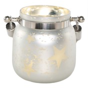 "4.75""H Small Mercury Glass Star Jar with Lights - White"
