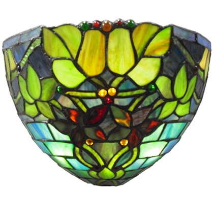 "9.25"" H Stained Glass Hampstead Wireless LED Wall Sconce picture"