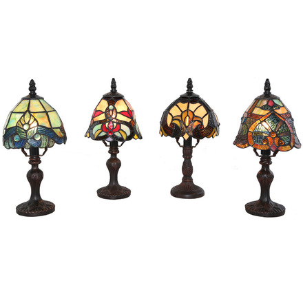 Set of 4 Tiffany Style Stained Glass Mini Lamps Gift Pack