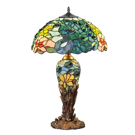 """26"""" H Fantastic Feodora Stained Glass Double Lit Table Lamp picture"""