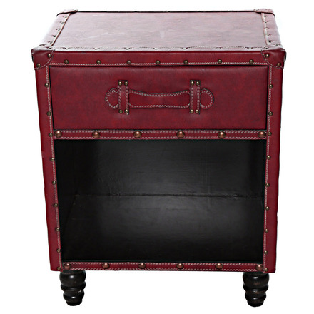 """21.5"""" H Faux Leather Side Table - Burgundy picture"""