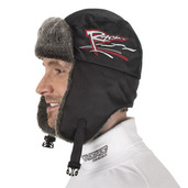 Nylon / Fun-Fur Trapper Hat Black Racing Embroidery