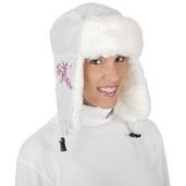 Nylon/Fun-Fur Trapper Hat White/Floral Embroidery