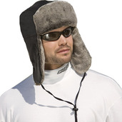 Nylon/Fun-Fur Trapper Hat Black