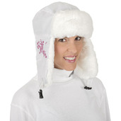 Nylon / Fun-Fur Trapper Hat White Floral Embroidery