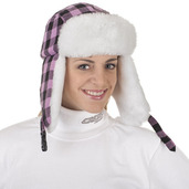 Nylon/Fun-Fur Trapper Hat Pink Plaid