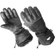 Leather Gloves With Short Gauntlet Black