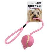 Rope 'n' Ball Throw Tug Toy Pink/white Blue/white Black/white 7.6cm Ball x 48cm