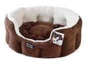 Luxury Oval Bed Chocolate & Plush 45cm