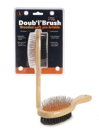 Wooden Doub 'l' Brush Large Orange/Black picture