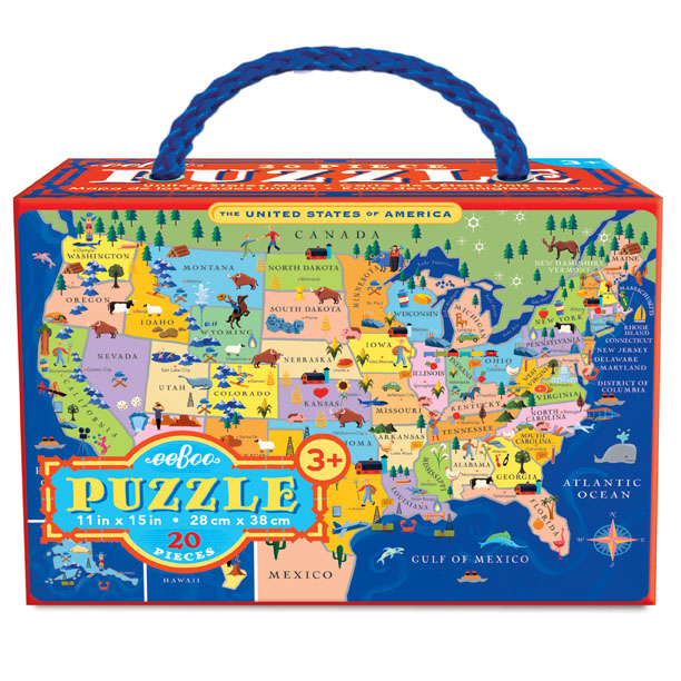 Map Of Canada Puzzle.United States 20 Piece Puzzle Eeboo