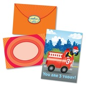 Fire Truck 3 Birthday Card