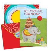 Elephant with balloon Birthday Card
