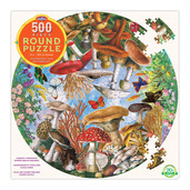 Mushrooms & Butterflies 500 Piece Round Puzzle