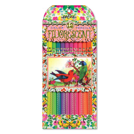 Fluorescent Victorian Birds Pencils