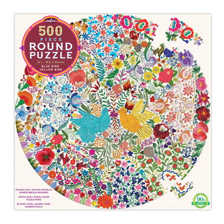 Blue Bird Yellow Bird 500 Piece Round Puzzle picture