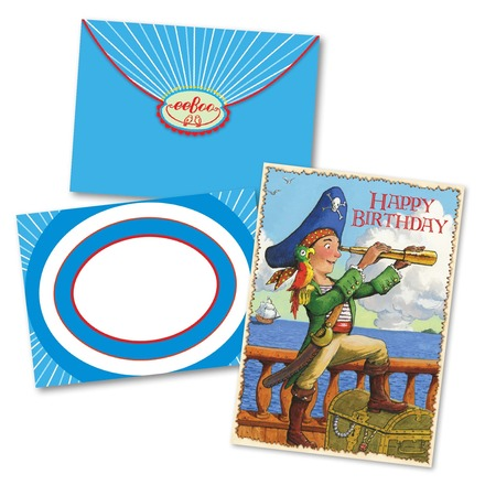 Pirate With Parrot Birthday Card picture