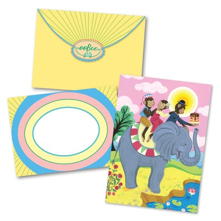 Monkeys On Elephant Birthday Card picture