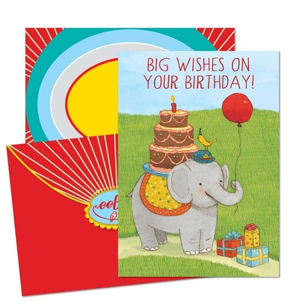 Elephant with balloon Birthday Card picture