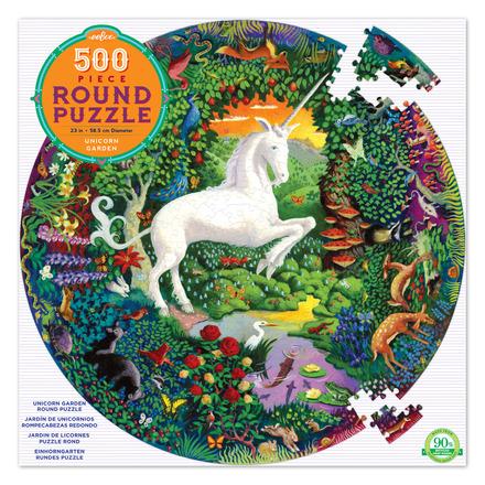Unicorn Garden 500 Piece Round Puzzle picture