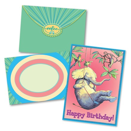Elephant On Swing Birthday Card picture