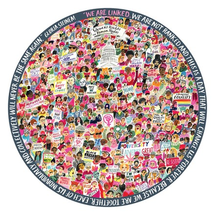 Women March! 500 Piece Round Puzzle picture