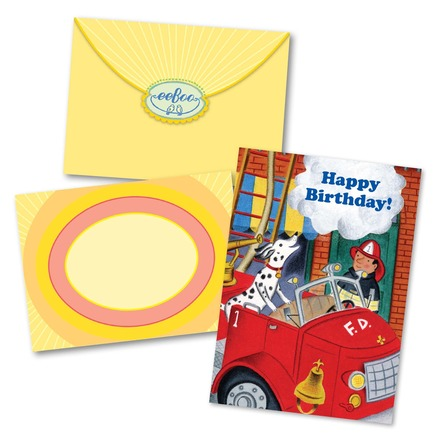 Fire Dog & Fireman Birthday Card picture
