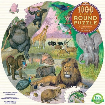 1000 Piece Round Wildlife of Africa Puzzle picture