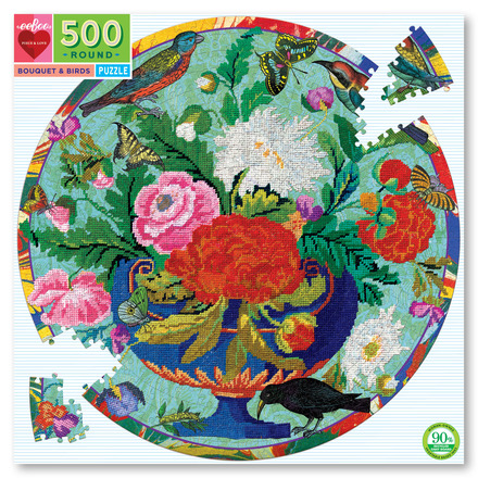 Bouquet & Birds 500 Piece Round Puzzle picture