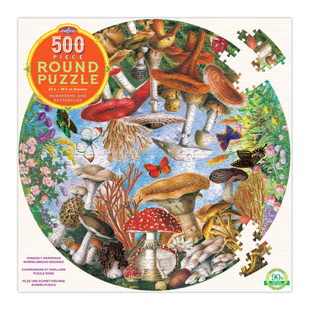 Mushrooms & Butterflies 500 Piece Round Puzzle picture